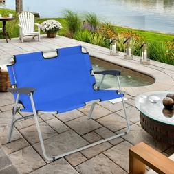 2 Person Folding Camping Bench Portable Double Chair