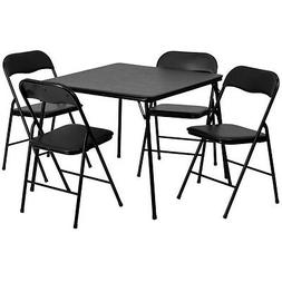 5 Piece Black Color Folding Card Table and Chair Set - Campi