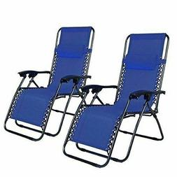 Blue 2pcs Portable Camping Folding Chair Lawn Patio Chairs W