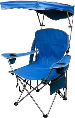 Quik Shade Blue Outdoor Adjustable Canopy Folding Camp Chair