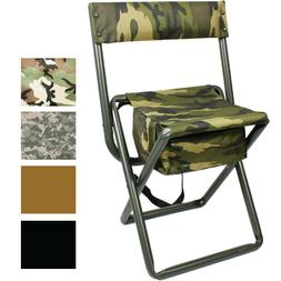 Deluxe Folding Stool with Seat Pouch Travel Chair Camo Milit