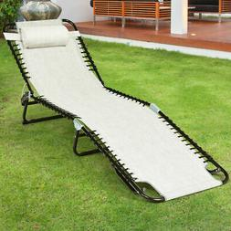 Foldable Lounge Chaise Adjustable Patio Camping Cot w/ Pillo