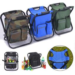 Folding Stool Insulated Cooler Bag Backpack Chair Beach Fish