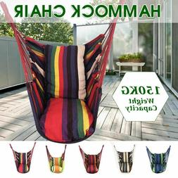 Hammock Hanging Rope Swing Chair Seat With 2 Pillows For Gar