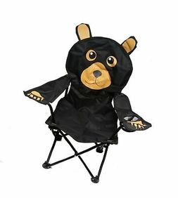 Kids' Black Bear Folding Camp Chair with Cup Holder and Carr