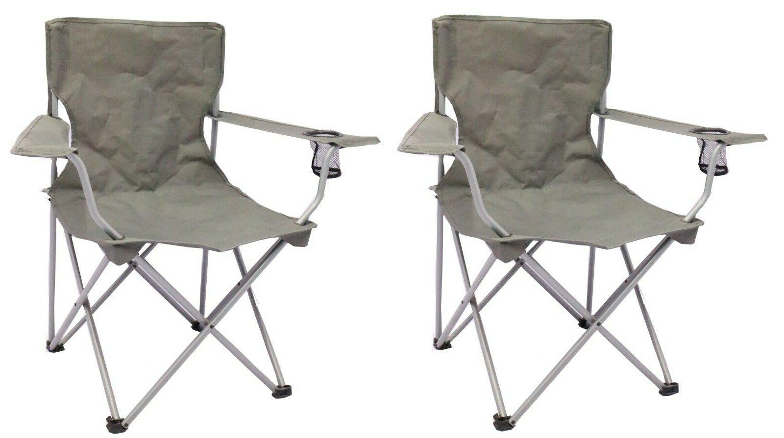 2 pack quad folding camping chair steel