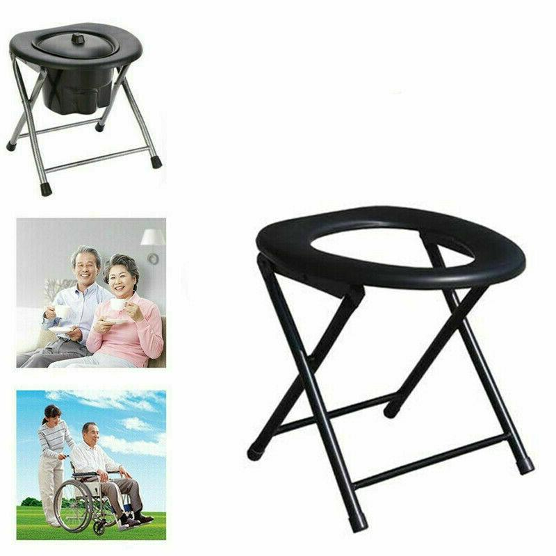 folding toilet chair black portable camping travel