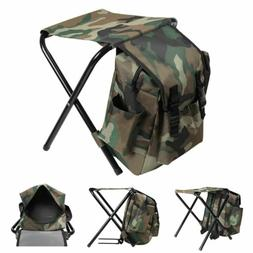 Multi-Function Camouflage Backpack Portable Folding Chair Ca