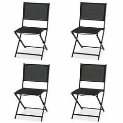 Outdoor Patio Folding Set of 4 Sling Chairs Camping Deck Gar