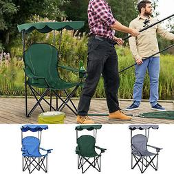 Outsunny Oxford Sports Folding Metal Camp Chair w/ Overhead