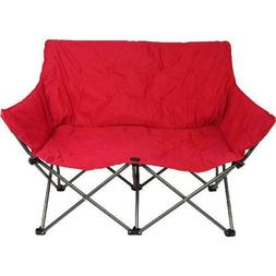 Red Padded Love Seat Plush Quad-Folding Portable Outdoor Cam